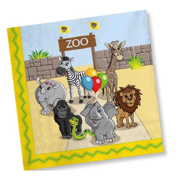 Servietten zum Thema Zoo Geburtstag