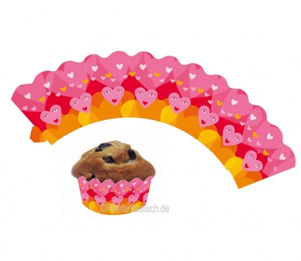 Cupcake Banderolen Herzchen 12St.