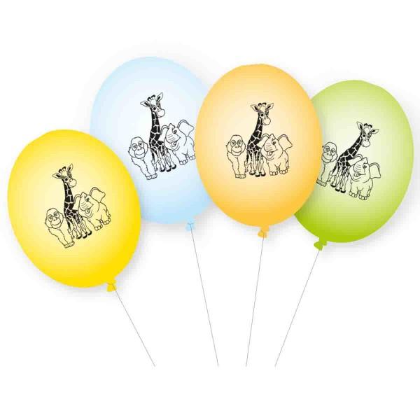 Lustige Luftballons für den Zoo-Geburtstag.