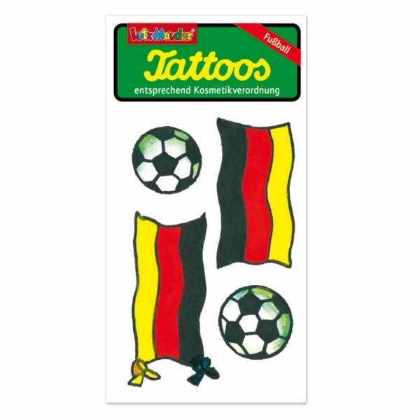 Fußball-Tattoo Fahne und Ball