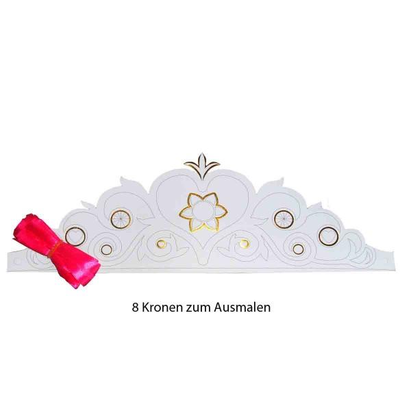 Packung mit 8 Prinzessin Kronen zum Basteln