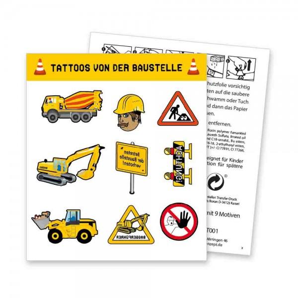 Bauarbeiter Tattooe als Mitgebsel auf der Baustellenparty