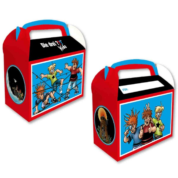 """Geschenkeboxen für die Detektivparty """"Drei Fragezeichen Kids"""""""