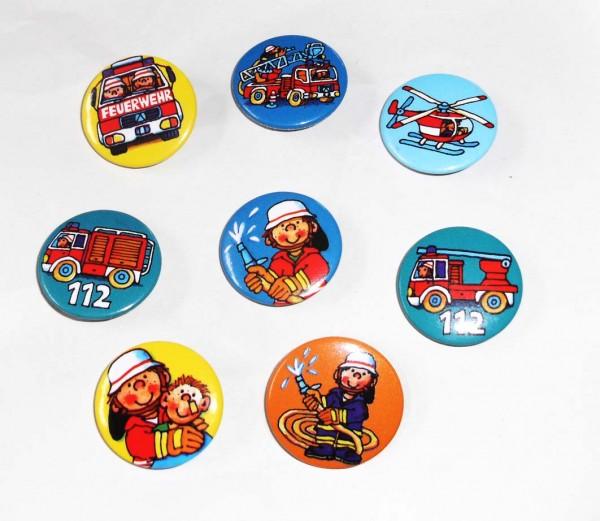 Mini-Buttons Feuerwehr 8St.