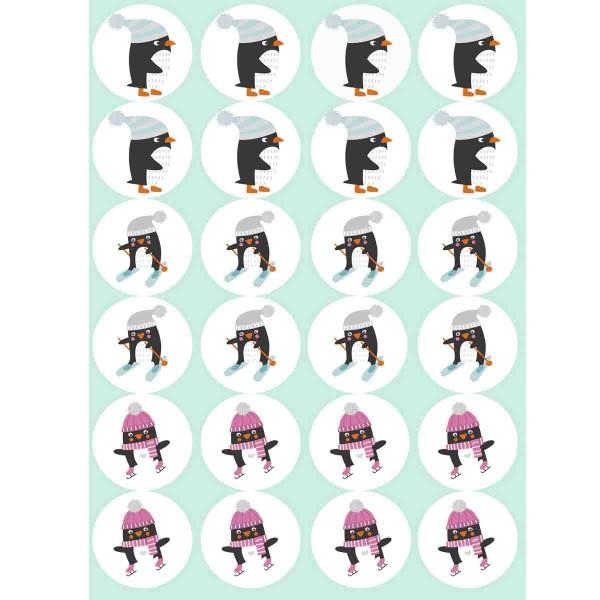 Lustige essbare Pinguine für die Muffindekoration, 24 Stück