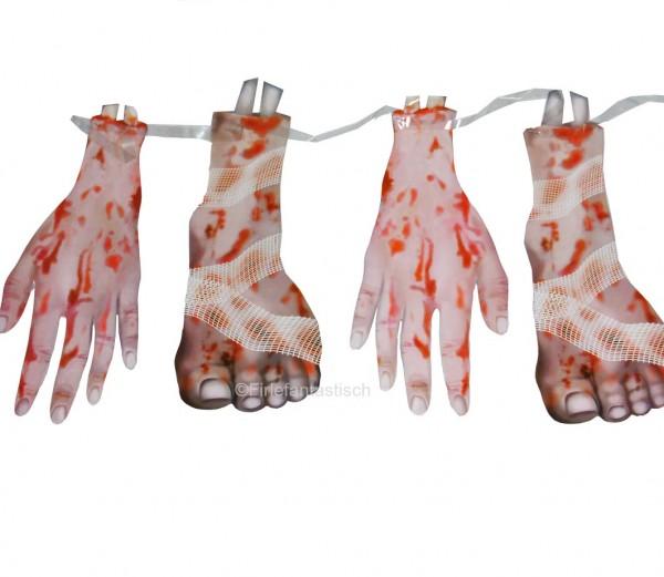Gruselige Girlande Füße und Hände